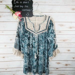 Uncle Frank Top Size S Floral Boho Long Sleeve